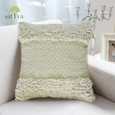 SATTVA WORLD Leif BOHO Handmade Neutral Tufted Decorative Cushions Cover