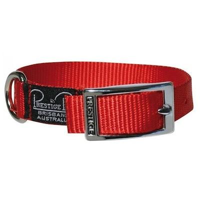Prestige Pet Products Prestige Pet Single Layer Nylon Adjustable Dog Collar Red 3/4 Inch - 3 Sizes