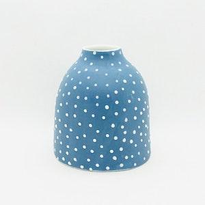 Ceramic Bud Vase - Dotty - #2 - Mid Blue