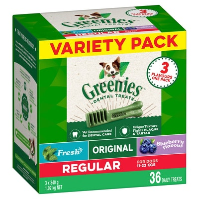 Greenies Regular 3-Flavour Variety Pack Dental Dog Treats 3x340G