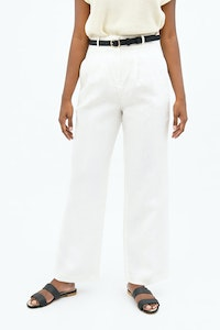 1 People French Riviera Linen Wide Leg Pants in Porcelain White
