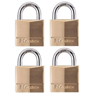 Master Lock 140Q 40mm Wide Solid Brass Body Padlocks 4 Pack Keyed Alike