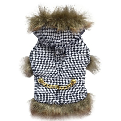DoggyDolly SMALL DOG - Lux Black Houndstooth Doggy Coat