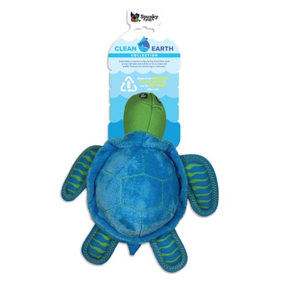 Spunky Pup Clean Earth Plush Turtle Dog Squeaker Toy - 2 Sizes