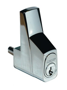 Carbine glass door bottom track showcase lock keyed alike in satin chrome finish