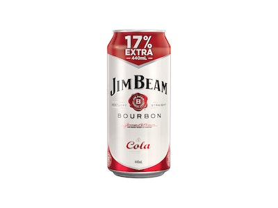 Jim Beam White Label Bourbon and Cola Can 440mL