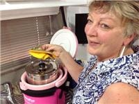 Pam's Pink DreamPot transforms the taste of beef with veggies mushrooms and tomatoes