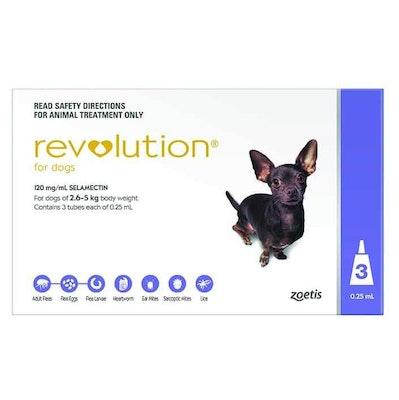 Revolution Purple Flea & Worming Treatment 2.6-5kg Dog 3 Pack