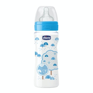 Chicco Well-Being Silicone Bottle 4m+ 330ml Boy