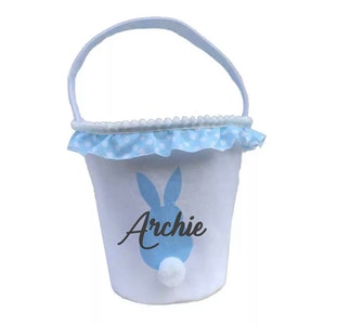 Personalised Bunny Tail Basket - Blue
