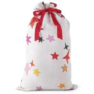 Christmas Star Linen Santa Sack