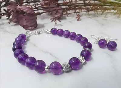 LinqGlo Collections Amethyst Bracelet and Earrings,