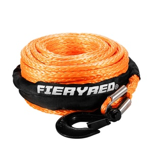 FIERYRED Synthetic Winch Rope 10MM x 30M Dyneema SK75 Tow Recovery Rope Orange 4WD