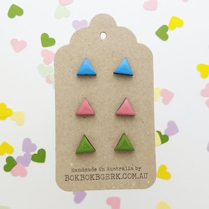 The 'Triangle' 3 Pack of Earrings - Colourway #1
