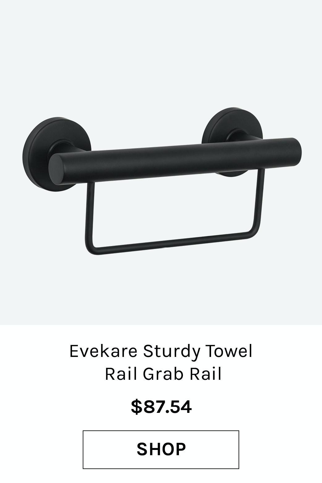 Evekare Sturdy Towel Rail Grab Rail Bathroom Black 300mm