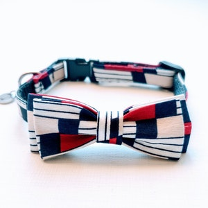 Queenie's Pawprints Small Bowtie Collar For Cats or Smaller Dog Breeds   Navy & Red