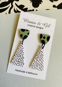 Winnie and Gil Green Freckle Triangle Dangles