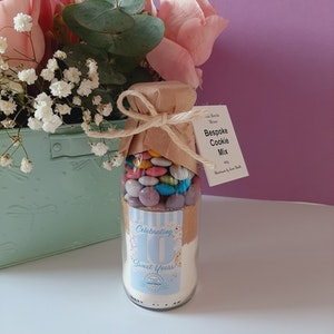 LIMITED EDITION Pastel Smartie Cookie Mix - food gift - baking mix in a bottle