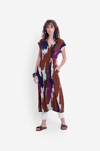 ELK IKAT MAXI DRESS - TAN MULTI