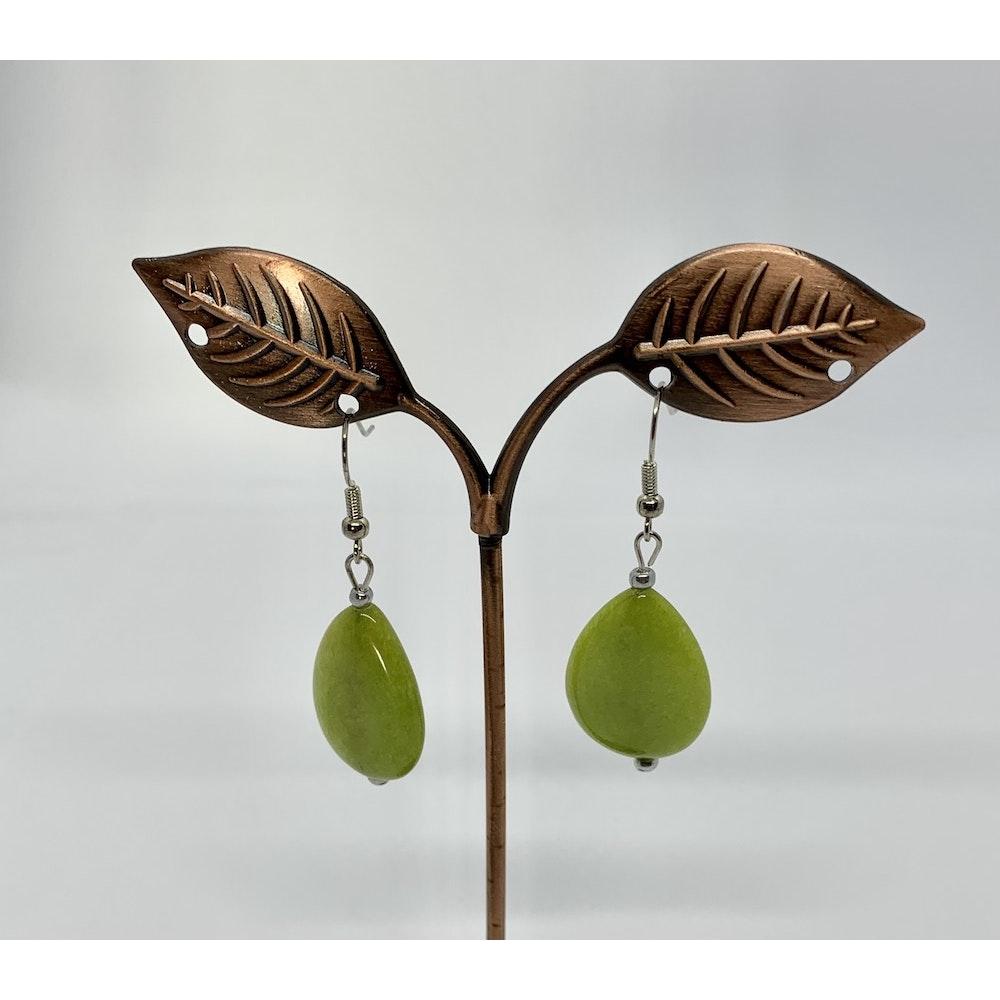 Fayre Maiden Apple Green Jade Teardrop Earrings