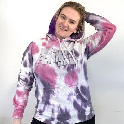 Maybe Mazie Big Feminist NRG Tie-dye Hoodie - Pink & Purple - Size M