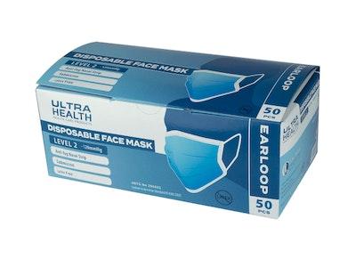 Ultra Health - Surgical - Anti Fog Face Mask - Ear Loop (50 Pack)