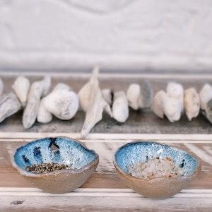 """Ceramic Salt & Pepper Dishes """"Sea Foam"""""""