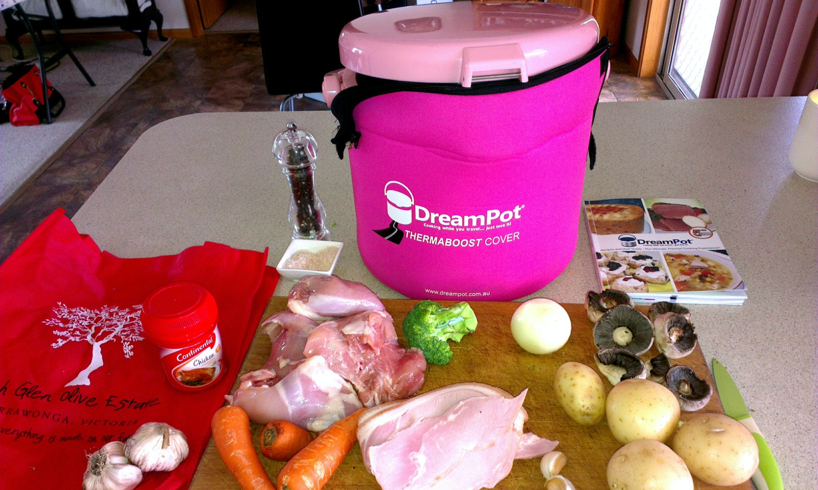 Pam's Pink DreamPot chicken bacon recipe served with crusty bread is yum