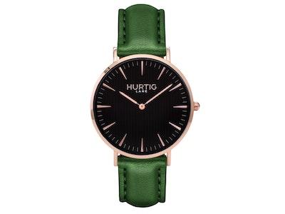 Hurtig Lane Mykonos Vegan Leather Watch Rose Gold, Black & Green