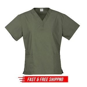 Premium Women's V-Neck Scrubs Top Ladies Hospital Dentist Nurse Uniform - Sage