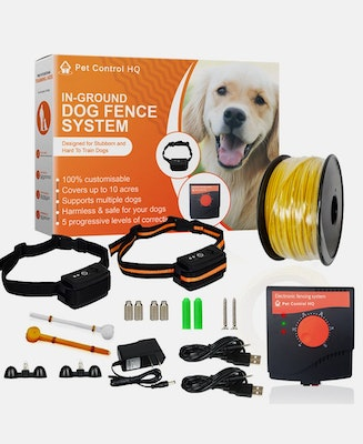 Pet Control HQ Waterproof Rechargeable Electric Dog Fence System 2 Collars