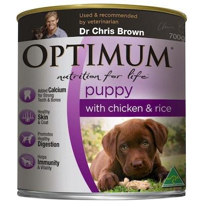 Optimum Puppy Chicken & Rice Wet Dog Food 700G