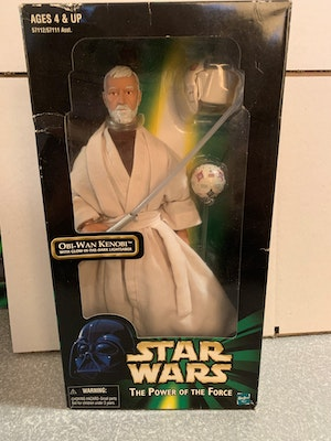 """Hasbro 1998 Star Wars The Power of the Force 12"""" Obi-Wan Kenobi with Glow-In-The-Dark Lightsaber"""