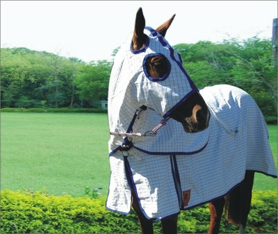 Capriole Equestrian Eco Rose & Royal Blue Summer Hood