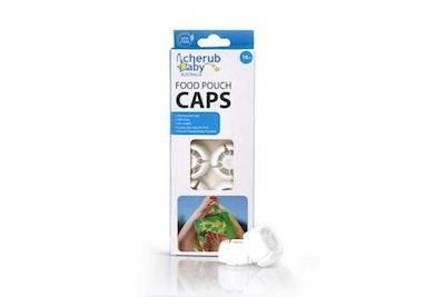 Reusable Food Pouch Caps 10Pk White
