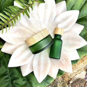 Us and the Earth Frosted Green Glass Cosmetic jar & dropper - Bamboo Lids - SET OF 2