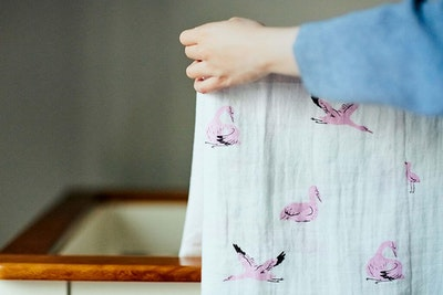 One Eco Step Organic Cotton Muslin Swaddle - Whooping Crane