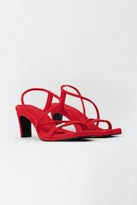 1 People Vegas Suede High Heels in Ruby Red