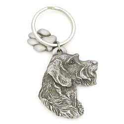 Key Companions Solid Fine Pewter German Wirehair Pointer with Paw Keychain