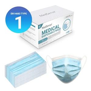 MedSense EN14683 Type I Disposable Medical Face Masks with Ear Loops (Pack of 50) (ARTG No.: 340295)