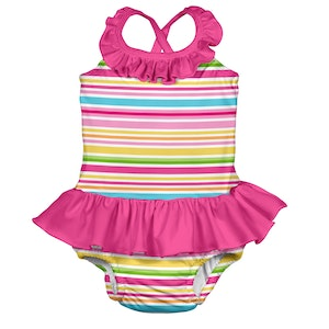 i play. Mix & Match 1pc Ruffle Swimsuit w/Built-in Reusable Absorbent Swim Diaper-Pink Multistripe