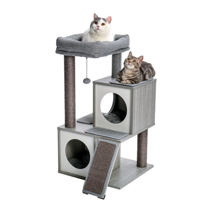House of Pets Delight Luxury Cat Tree With Double Condo - Wooden Grey