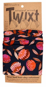 Protea Flowers on Navy Blue - Twixt / Wired Head Wrap
