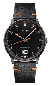 Mido Commander Big Date - Stainless Steel with Anthracite PVD - Black Patina Leather Strap