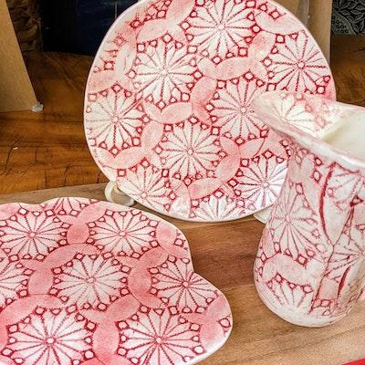 Scenic Rim Pottery Red and white tea time dish set + creamer