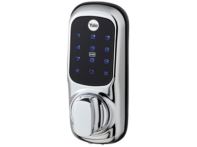 Yale rim dead lock to digital lock conversion kit in chrome plate (Dead lock NOT included)