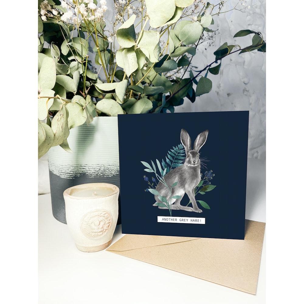 Laura Elizabeth Illustrations Grey Hare Greetings Card