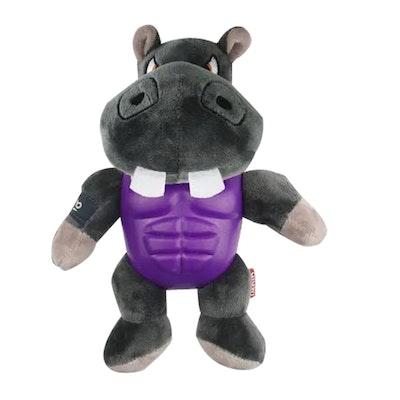 GIGWI Im Hero Armoured Hippo Plush w/ Squeaker Dog Toy