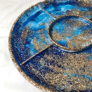 Handmade Resin Entertainers PLATTER - Blues/Gold