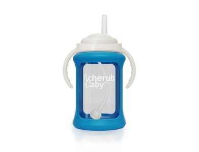 Wide Neck Glass Straw Cup with Colour Change Sleeve 240ml - Blue